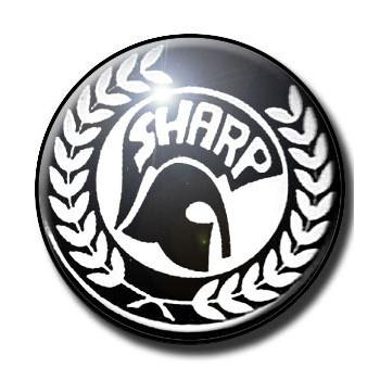 BADGE SHARP (2) SKINHEADS AGAINST RACIAL PREJUDICE